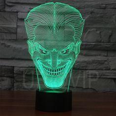 Joker 3D Illusion LED Bulbing Table Lamp Night Light