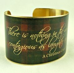 Charles Dickens Brass Cuff Bracelet in Tartan Plaid - A Christmas Carol Literary Quote