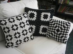 This item is unavailable CROCHET PILLOW SET black and white granny square by afghansbyanne Crochet Pillow Cases, Crochet Cushion Cover, Crochet Cushions, Granny Square Crochet Pattern, Crochet Squares, Crochet Granny, Crochet Patterns, Crochet Ideas, Granny Square Häkelanleitung