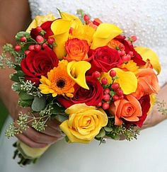 Calla Lily Bridal Bouquet- instead with some added fall touches, burlap and lace wrapped around the stems