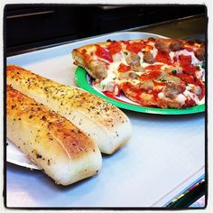 When you're on the go and in the mood for Italian, it's hard to beat an appetizer of delicious garlic breadsticks, followed by a perfect slice of sausage and pepperoni pizza from Sbarro!