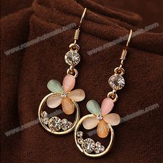Wholesale Pair of Exquisite Rhinestoned Opal Embellished Flower Earrings For Women (AS THE PICTURE), Earrings - Rosewholesale.com
