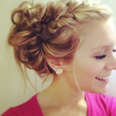 French braid into messy bun Beauty ❤ liked on Polyvore featuring beauty products, haircare, hair styling tools, hair and hair styles