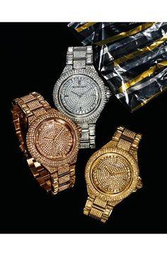 Michael Kors 'Camille' Crystal Encrusted Bracelet Watch. #Nordstrom. Golden, silver or Rose.