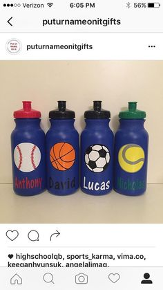 Kids Party Favor  Sports Bottles team water bottles  by PutUrNameOnIt | Etsy