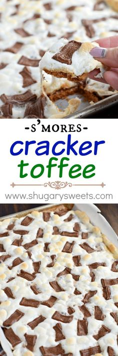 S'mores Cracker toffee recipe with a graham cracker toffee base topped with marshmallows and melted chocolate!