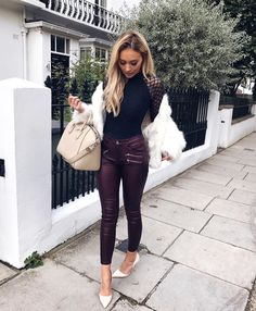This kind of outfit with a faux fur coat