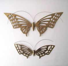 vintage brass butterflies wall hanging by RecycleBuyVintage, $26.00