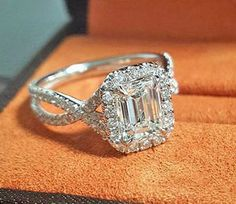 New 1.55 Ct Halo Pave Emerald Cut Diamond Twist Shank Engagement Ring E,VS2 GIA  in Jewelry & Watches, Engagement & Wedding, Engagement Rings, Diamond | eBay