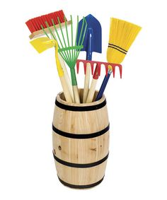 I want this for the kids for an easter gift idea!!!!!  Look at this #zulilyfind! Garden Tool Barrel #zulilyfinds