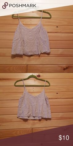 White crop, crochet material Cute AEO crop top goes great with high waisted pants and flats American Eagle Outfitters Tops Crop Tops