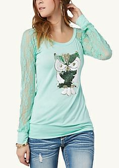 Crochet Shadow Stripe Dolman Top | Fashion | rue21 | LINDSAY BECK: I have this top in peach! :* love it!!!