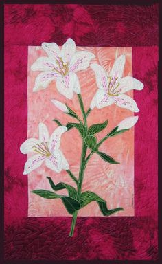 Speckled Lily flower applique quilt pattern designed by Debra Gabel for Zebra Patterns. Zebra Patterns patterns are designed for fusible applique that is machine stitched around the edges, so I recomm