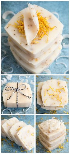 Natural Calendula Soap Recipe - a simple, basic soap recipe with only a few ingredients - easy to make and great for people with skin allergies or sensitivities. #naturalsoaprecipes