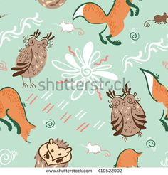 Vector seamless pattern of hand drawn animals  in traditional russian folk style using natural colours.