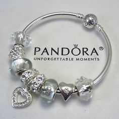 bangle bracelets with charms | ... Pandora-BANGLE-Bracelet-Silver-w-Heart-Love-Shimmer-Murano-Charm-Bead