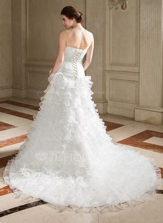 Corte A/Princesa Estrapless La capilla de tren Organdí Vestido de novia con Bordado Lentejuelas Cascada de volantes (002001274)