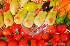 Colorful Sicilian cookies of various forms and sizes.