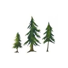 Evergreen Trees Stencil - Mural Elements