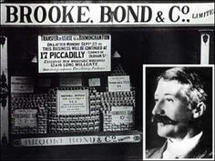 Arthur Brooke founded Brooke Bond Tea Company in 1869, starting with a single tea shop. He was the son of a tea dealer, Charles Brooke, and as a child was allowed to clamber up and ride in the wheelbarrow along with packets of tea that were being delivered to homes in Ashton-under-Lyme, England.