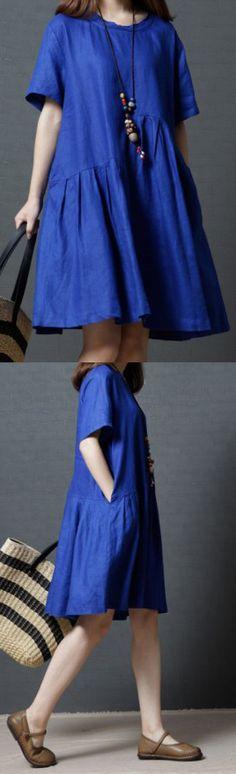 BLUE WRINKLED CASUAL LINEN DRESSES PLUS SIZE SUNDRESS SHORT SLEEVE MID DRESS (5)