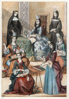 Francoise d'Aubigne, marquise de Maintenon, les demoiselles de Saint-Cyr, 1695, French school