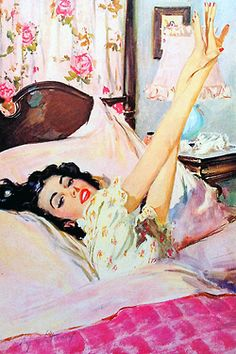 Illustration by Coby Whitmore for Simmons Beautyrest mattress ad c. 1950s