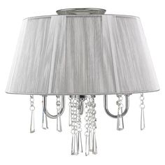 $106 Chromed steel convertible semi-flush mount with glass beads, crystal drops, and a silver shade.   Product: Semi-flush mount...