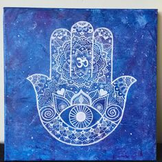 A personal favorite from my Etsy shop https://www.etsy.com/listing/238703184/hamsa-mandala-on-painted-canvas