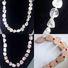 #collane in #quarzo #grezzo #naturale in #bianco e #rosa. #fatteamano.  #natural #raw #quartz #necklace in #white or #pink. #handmade.  #collar en #cuarzo #natural #bruto #blanco o #rosa. #hechosamano. www.oro18.eu info@oro18.eu