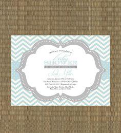 Printable Baby Boy Shower Invitation - Blue and Gray Chevron Shower Invitation. $15.00, via Etsy.