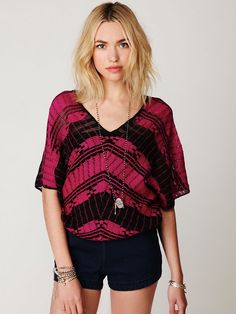 Free People Colorblock Short Sleeve Sweater  I owe this, and it looks great with wideleg pants!