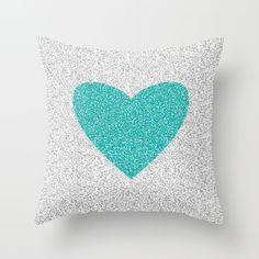 Aqua Glitter Heart (Not Real Glitter) Throw Pillow Glitter Hearts, Purple Glitter, Valentine Heart, Valentines, Bring It To Me, Heart Pillow, Purple Love, Mint Color, Home Decor Accessories
