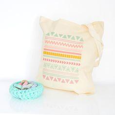 Tote bag Aztec  organic cotton by PetiteMila on Etsy