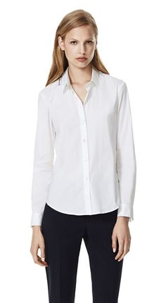 Tops: Theory Larissa 2 Luxe Stretch Cotton Shirt (in white)