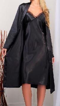 Classic Women's Long Satin Robe- **BLACK**