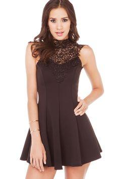 Lace Detail Fit & Flare Dress