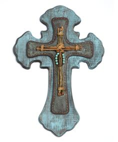 Take a look at the Turquoise Rustic Wooden Wall Cross on #zulily today!
