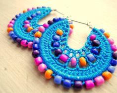 Perlas y aros de ganchillo por BohemianHooksJewelry en Etsy