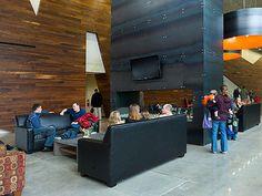 Office lobby design reclaimed wood