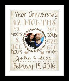 1 year anniversary present wedding anniversary by Printsinspired