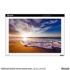 """california beach waves sunset seascape decals for 17"""" laptops"""