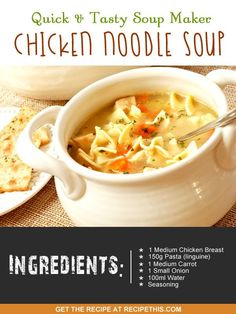 Recipe This   40 Soup Maker Recipes To Cook In The Soup Machine Easy Chicken Recipes, Soup Recipes, Cooking Recipes, Healthy Recipes, Ninja Recipes, Hamburger Recipes, Oven Recipes, Healthy Snacks, Meals