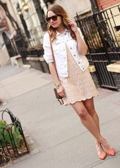 The Steele Maiden: Nude lace scalloped dress with @OldNavy white denim jacket & @solesociety coral heels
