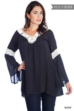 Sasha Plus Size Bell Sleeve Crochet Top $ 42.99