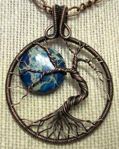 Sea Sediment Jasper Tree of Life Pendant-Blue Moon-Limited Offering, Antique Copper Wire