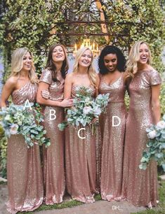 Bling Rose Gold Sequined Bridesmaid Dresses 2017 Long Sexy Floor Length Boho Bridesmaids Dresses Plus Size Custom Made