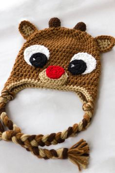 Rudolph Reindeer Hat - Crochet Baby Hat