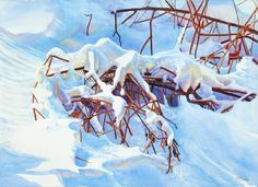 Winter Landscape Painting original watercolor by CathyHillegas, $2000.00
