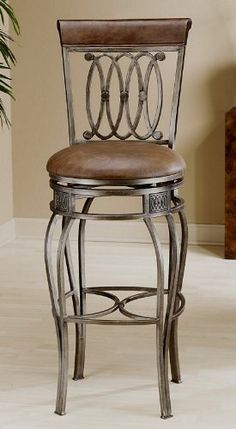 """Hillsdale Montello Swivel Bar Stool by Hillsdale Furniture. $220.00. Some assembly may be required. Please see product details.. Hillsdale Montello Bistro Table and Bar Stools The Montello collection features a metal frame with sweeping interlocking circles, elegantly curved legs and an old steel finish for an elegant, romantic look. Stools feature distressed brown faux leather seats and a faux leather look on the top of the chair backs. Bar Stool has a 2'8 1/2""""h. seat and ..."""